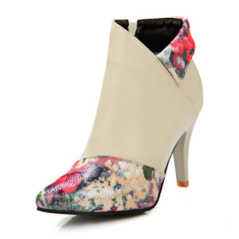 LIUYL Damen Stiletto High Heels Große Ankle Stiefel Spitzendruck Bohemian Zipper Vintage Schuhe Winter Work Party Stiefelies
