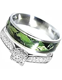 2 piece Sterling Silver Stainless Steel Camo Engagment Wedding Rings Set #SP24PC