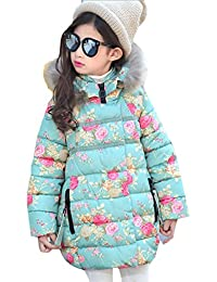 Alion Little Girl Winter Printing Long-Sleeved Pullover Hooded Puffer Jacket Faux Fur Coat