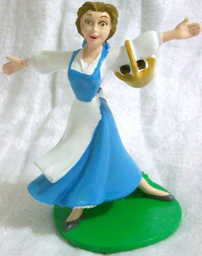 "Disney Beauty and the Beast, 3"" Plastic Pvc Belle Figure Doll Toy, Cake Topper Styles May Differ"