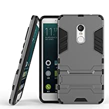 Shockproof with Kickstand Feature Case for Xiaomi Redmi Note 4 (5.5 inch) Hybrid Dual Layer Armor Defender Protective Cover (Grey)