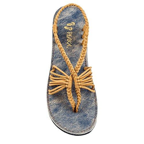Plaka Sandals, Jeans, Sand-Yellow, Size 5, Seashell