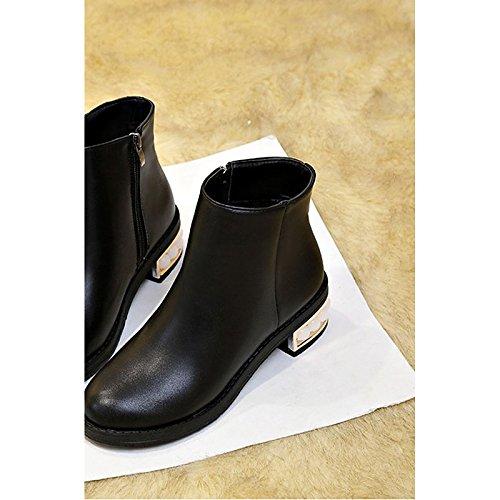 HSXZ Damenschuhe PU Winter Komfort schwarz Stiefel Absatz Runder für Casual Schwarz schwarz Komfort 189c5d