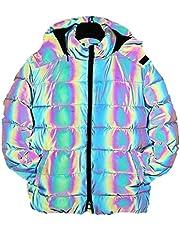 Hip-hop reflecterende jassen zijn geschikt for mannen en vrouwen, 2020 nieuwe stof veiligheid jas (zwart rainbow) dikke hooded winter warme jas brood pak