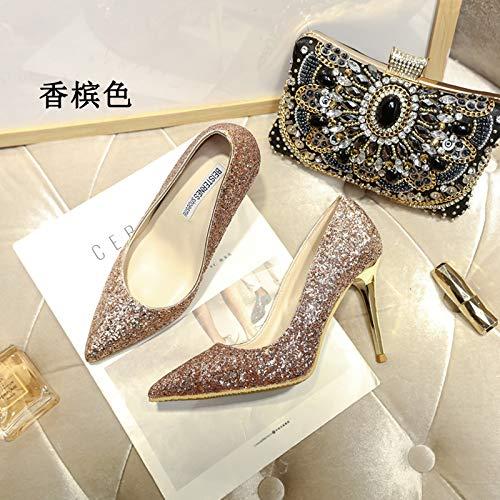 MLGSDW Hochhackige Schuhe Feine Weibliche Feine Schuhe Ferse Schrittweise Pailletten Scharfe Kristall Braut Schuhes33 [5.5 cm] Champagner - 5b2540