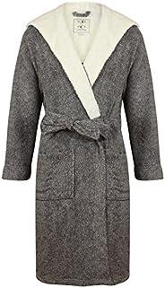 John Christian Men's Hooded Fleece Robe, Dark Gray