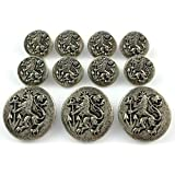 MetalBlazerButtons.com Brand ANTIQUE SILVER Finished ~LION & ANCHOR CREST~ METAL BLAZER BUTTON SET ~ 11-Piece Single Breasted Sport Coat Button Set