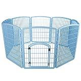IRIS 34'' Exercise 8-Panel Pet Playpen with Door, Blue