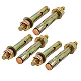 Portal Cool M8x70mm Zinc Plated Sleeve Anchor Expansion Bolt Bronze Tone 6pcs