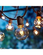 Lichtsnoer voor buiten, 2 x 17 meter, lichtketting, gloeilamp, buiten, verbeterde versie, OxyLED-lichtketting voor de tuin, waterdicht (100 lampen, 20 reservelampen, gelig licht), niet led