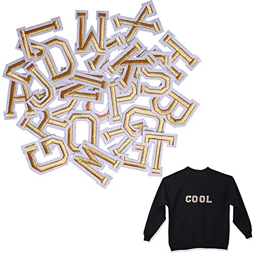 SHELCUP Iron on Letter Patch for Clothes, 26pcs Alphabet A to Z Word Iron-on Patches, Sew-on Appliques for Jeans/Jackets/Backpacks/Kids Clothing to Cover Rip/Logo, Classic Gold