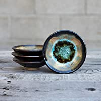 GEODE RING DISH: Individual Geode Ring Dish in Black & Sienna Fused Glass Dish, Trinket Dish, Soap Dish, Crackle Glass, Candle Holder, Dock 6 Pottery, Kerry Brooks Pottery