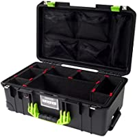 Black & Lime Green Pelican 1535 Air case, with TrekPak Dividers & 1535 lid organizer.