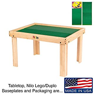 NILO Kids Play Table Set with 2 Compatible Lego Duplo Detachable Two-Sided Baseplates/Boards/Mats (N34 Activity Table w/Holes, 24x32x20 and 2X Green Base Plates 12x32)