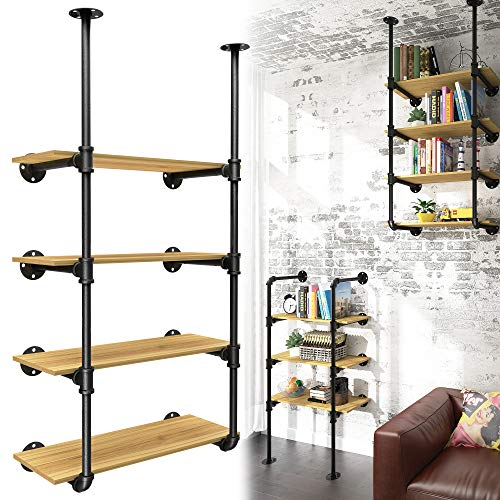 YITAHOME 4 Tier DIY Pipe Shelves Wall Mounted Industrial Retro Iron Shelf, Open Pipe with Hanging Bracket, DIY Storage Shelves, Kitchen Shelves, Tool Shelves, Office Shelves, Bookshelves and Bookcases