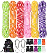 MONOBIN 550 Paracord Combo Kit Paracord Bracelet Crafting Kits with Buckles, Carabiner and Key Rings for Makin