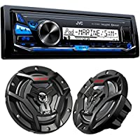 JVC KD-X33MBS Mechless Bluetooth Marine Radio and a pair of JVC CS-DR6200M 6.5 Black Marine Coaxial Speakers