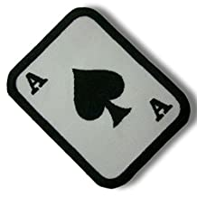 """[Single Count] Custom and Unique (3.75"""" x 2"""" Inch) Square w/ Rounded Corners Ace of Spades Poker Playing Card Iron On Embroidered Applique Patch {Black & White Colors}"""