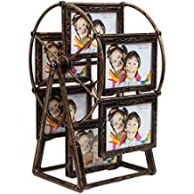 Large Rotating Ferris Wheel Twelve 3.5 x 5 In Picture Frame Vintage DIY Keepsake Windmill Photo Frame New Year Gift for Family, Retro Home Décor