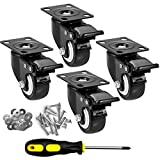 "CLOATFET Caster Wheels, 2"" Casters with Brake, No Noise Swivel Casters with Set of 4, Polyurethane (PU) Wheels with Locking, 4 Pack Castors, Heavy Duty Plate Casters"