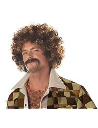 Disco Dirt Bag Wig & Moustache Costume Accessory Set Adult