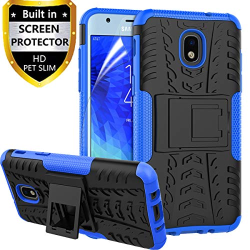 RioGree Phone Case for Samsung Galaxy J7 Refine/Galaxy J7 Star /J7 2018/J7 Aero/J7 V 2rd Gen/J7 Top/J7 Aura/J7 Crown/J7 Eon, with Screen Protector Kickstand Cell Cover Skin, Blue
