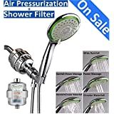 "Shower Head & Filter Set, Filtered High Pressure Handheld Showerhead Combo, Includes 12 Stage Shower Filter, 5 Setting 4.7"" Large Showerhead, 59"" Hose, Bracket Holder, All Chrome"