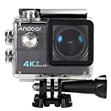 Andoer​ Ultra HD Action Sports Camera 2.0 inches LCD 16MP 4K 25FPS 1080P 60FPS 4X Zoom WiFi 25mm 173 Degree Wide-Lens Waterproof 30M Car DVR DV Cam Diving Bicycle Outdoor Activity (Black)
