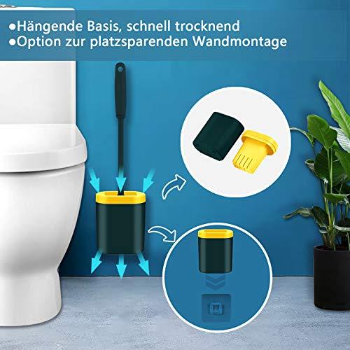 cshare Toilettenbürste, WC Bürste und Behälter,Klobürste Silikon mit Schnell Trocken Behälter und Griff,Wandmontage & Stehen Silikon Toilettenbürste Set für Badezimmer oder Gäste-WC(Grün)