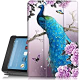 Folio Case for All-New Amazon Fire HD 8 Tablet (7th Generation) - PIXIU Unique Pattern Slim Fit Premium Leather Standing Protective Cover with Auto Wake/Sleep for fire hd 8 2017 Release Peacock
