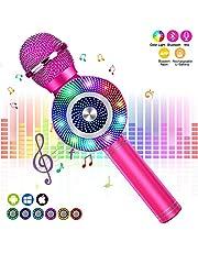 FishOaky Mircophone Karaoké sans Fil, Portable Micro Bluetooth pour Enfants Chanter, Fête, Enregistrement, Compatible avec Android/iOS/Smartphone