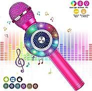 FISHOAKY Karaoke Microphone [Updated], Kids Wireless Bluetooth Karaoke Machine Portable Mic Player Speaker wit