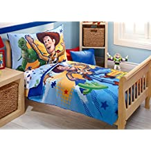 Disney Reversible 4 Piece Toddler Bedding Set, Buzz, Woody and the Gang