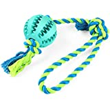 BAODATUI Dog Chew Toy Cotton Rope Ball for Tug of War with Your Small Medium - Solid Rubber Ball on Rope for Reward, Fetch, Play - Natural Rubber - Effective Tooth Cleaning (Bule)