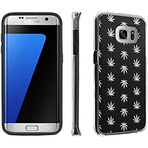 Samsung Galaxy S7 Edge / GS7 Edge [5.5 Screen] Case, [SkinGuardz] Hybrid Tough Impact Resistant Case - [Black Weed] Print Design Sales