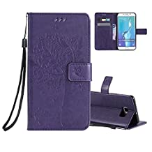 Galaxy S6 Edge Wallet Case Cover Embossed Flower Cat Wishing Tree Design Aeeque Shockproof Folio Flip Phone Cases Slim Fit Bumper Full Protection Cover Case for Samsung Galaxy S6 Edge, Purple