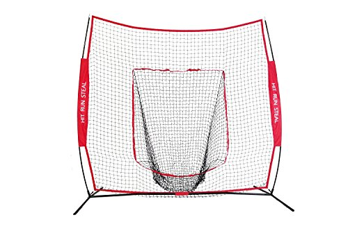 Sport Nets Baseball / Softball Hitting Net - 7 x 7 Practice Large Mouth Net with Bow Frame (Red, 7 x 7 Net)