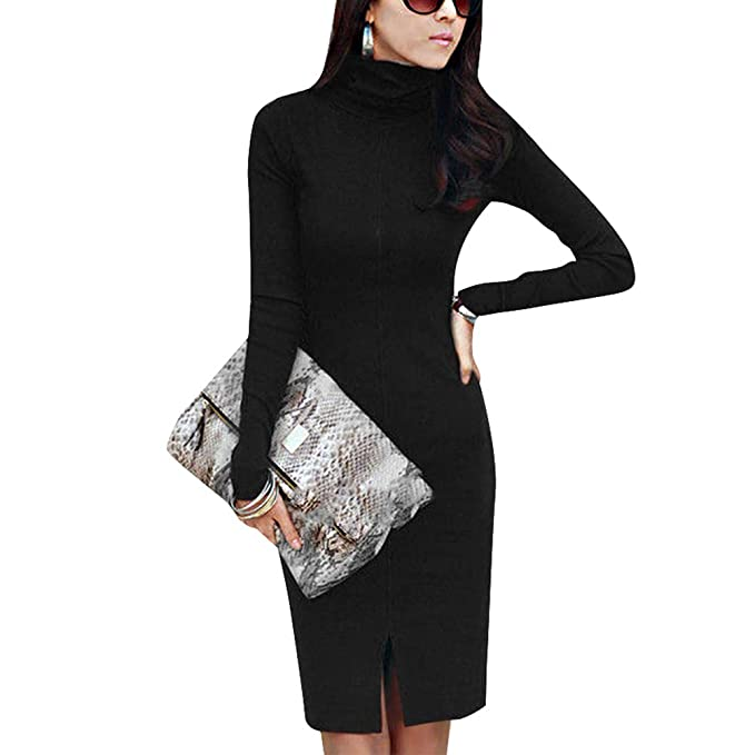 6e6bbcd4d2 NewCime Lady s Long Sleeve Turtleneck Slim Fit Solid Color Knitting Sweater  Dress Relaxed Dress (Color