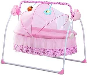 ZWQ kids Baby Cradle Swing Electric Stand, Baby Crib Cradle Auto Rocking Chair Newborns Bassinets Sleep Bed, Rocking Music Remoter Control Sleeping Basket Bed Newborns Sway Baby Swing,C