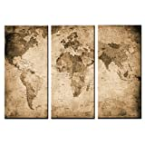 Canvas Art,3 Panels, Antique Map,Framed Art and Prints for Wall Decoration, Canvas Wall Art Prints, Giclee Prints,42x30inch total-Antiqued Dim Grey Map