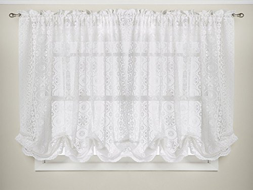 Sweet Home Collection Hopewell Floral Heavy Lace Kitchen Curtain Shade, 58