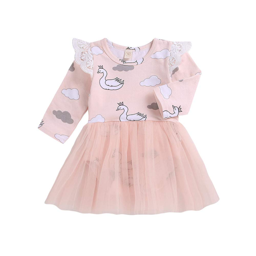 JYC- Baby Girls Tulle Princess Dress Newborn Outfits Clothes Long Sleeves Cartoon Swan Romper Dress