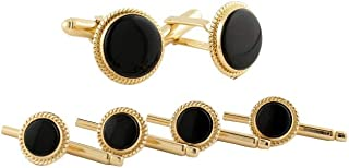 product image for David Donahue Mens Gold Plated Sterling Silver Onyx Cuff Links Stud Set