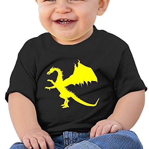 Folding Wings Costume (Dragon Toddler Short-Sleeve Round Neck Shirts Baby Undershirts O-Neck Tee - For Boys And Girls Black 6 M)