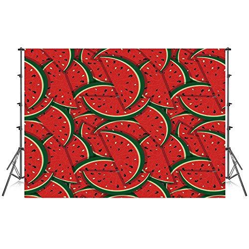 Fruits Stylish Backdrop,Refreshing Watermelon Slices Summer Season Tropical Organic Yummy Artsy Design Decorative for Photography Festival Decoration,59''W x 39''H