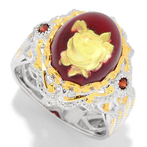 - Michael Valitutti Palladium Silver Amber Carved Flower Intaglio & Gemstone Ring