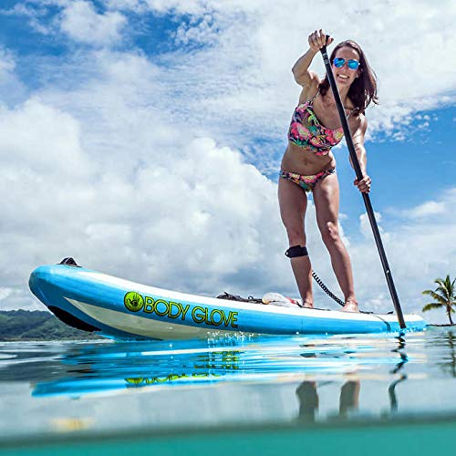 AWESOME TOUGH Reliable Versatile Body Glove Performer 11' Inflatable Stand Up Paddle Board Package Triple Dura-Fin Design, Dual Action High Pressure Pump and Gauge - Great For Families And Fitness!