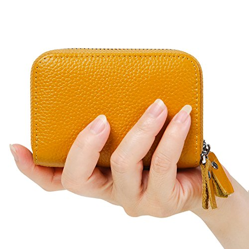 Accordion Wallet Purse (Women's RFID Blocking Credit Card holder Leather Compact Accordion Wallet,yellow)