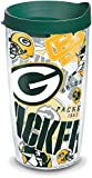 Tervis 1248162 NFL Green Bay Packers All Over Tumbler with Wrap and Hunter Green Lid 16oz, Clear - 184110