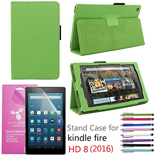EpicGadget PU Leather Folding Folio Case with Screen Protector and Random Color Stylus for Fire HD 8 (Previous 6th Gen) (2016) - Green (Lime Kindle Fire Case)